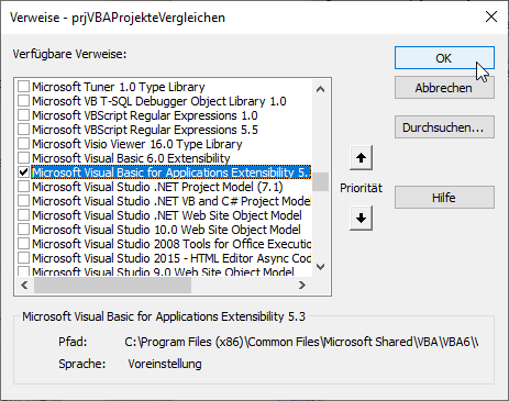 Verweis auf die Bibliothek Microsoft Visual Basic for Applications Extensibility 5.3 Object Library