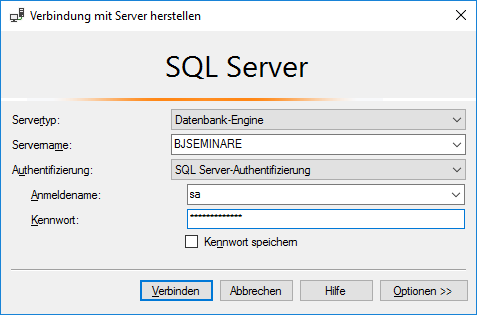 Authentifizierung am SQL Server mit sa